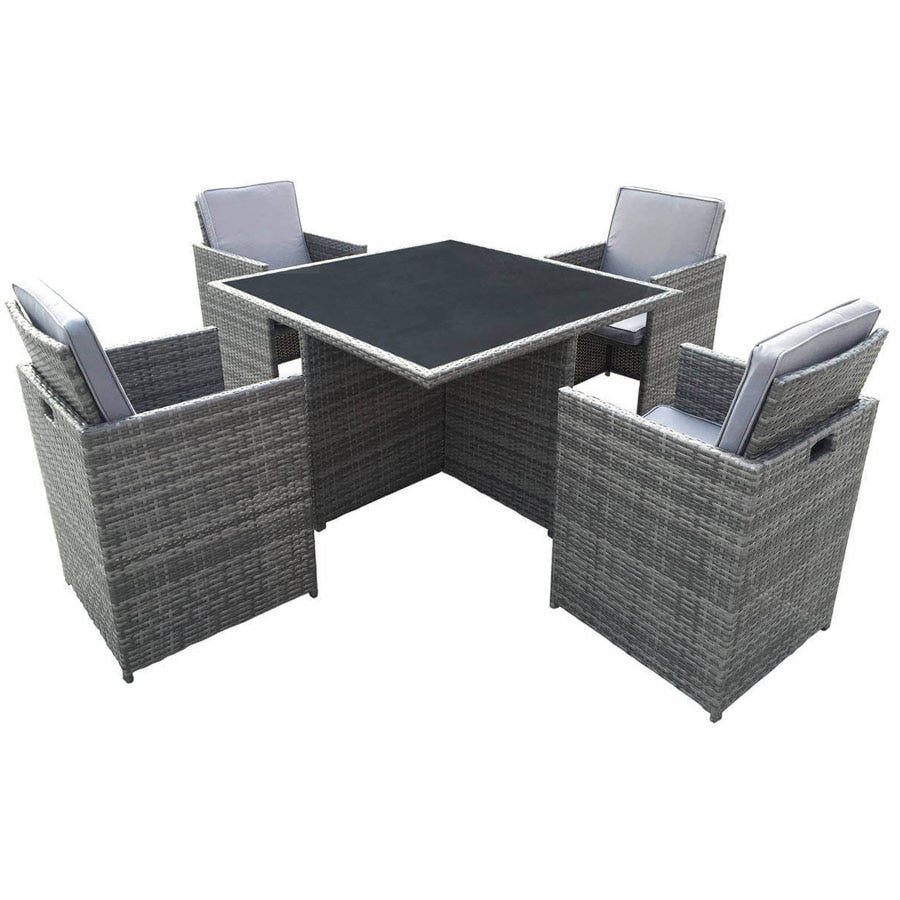 Compare cheap offers & prices of Charles Bentley 4-Seater Rattan Cube Garden Dining Set manufactured by Charles Bentley
