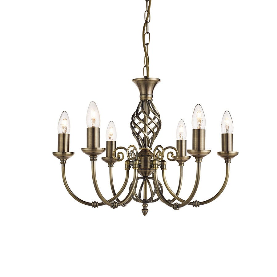Searchlight Lighting Collection Alba 6-Light Brass Ceiling Light