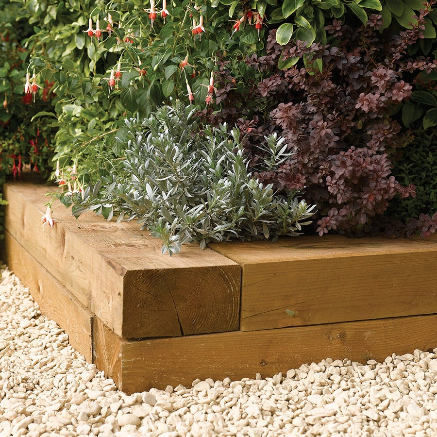 Image of Rowlinson 0.9m Timber Flower Bed Blocks - 2pk