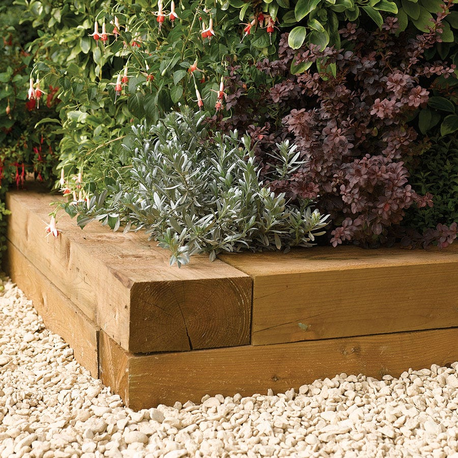 Image of Rowlinson 1.8m Timber Flower Bed Blocks - 2pk