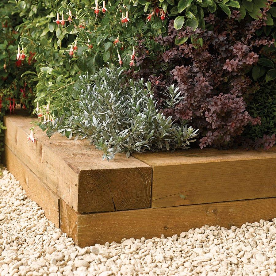 Rowlinson 1.8m Timber Flower Bed Blocks - 2pk