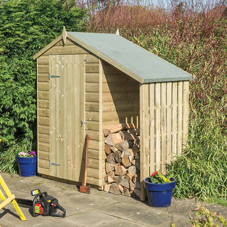 Rowlinson Oxford 4ft x 3ft Wooden Apex Garden Shed with Lean To