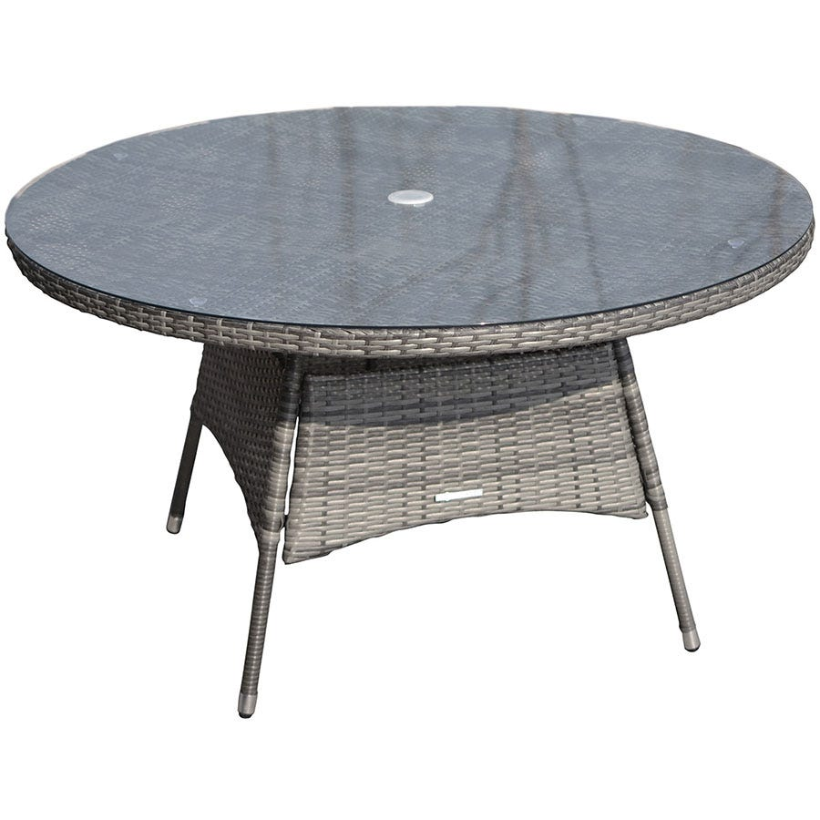 Charles Bentley Napoli 6-Seater Round Rattan Dining Table - Grey