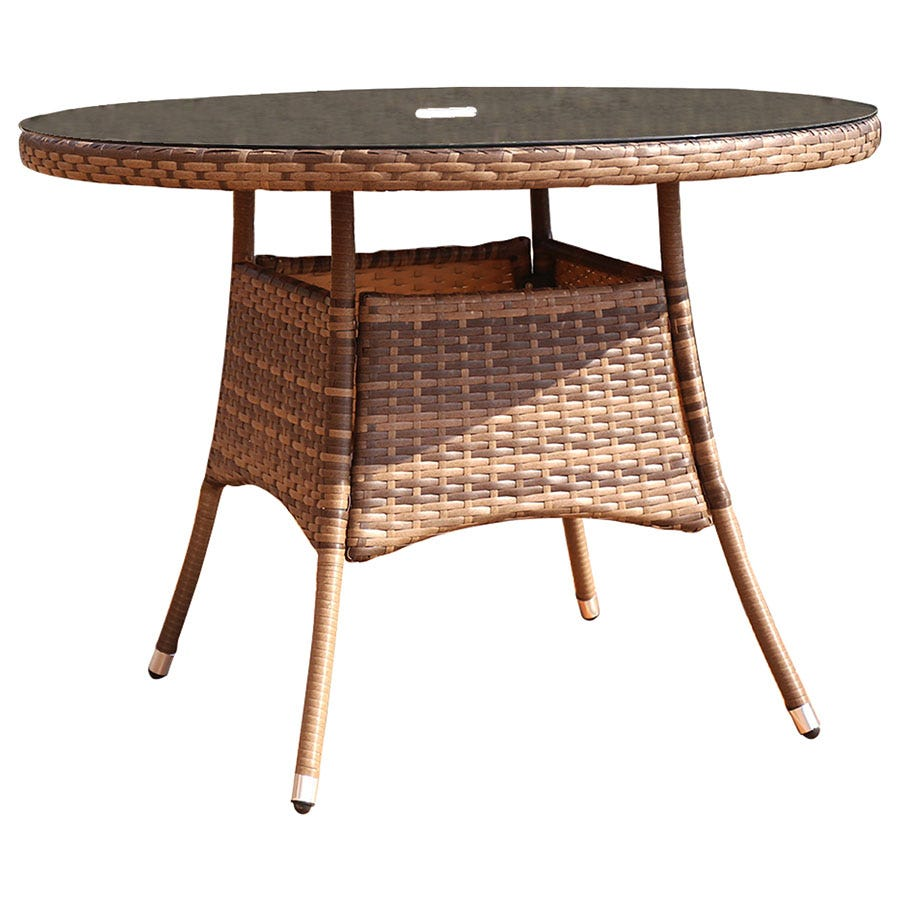 Charles Bentley Verona 4-Seater Round Rattan Dining Table - Brown
