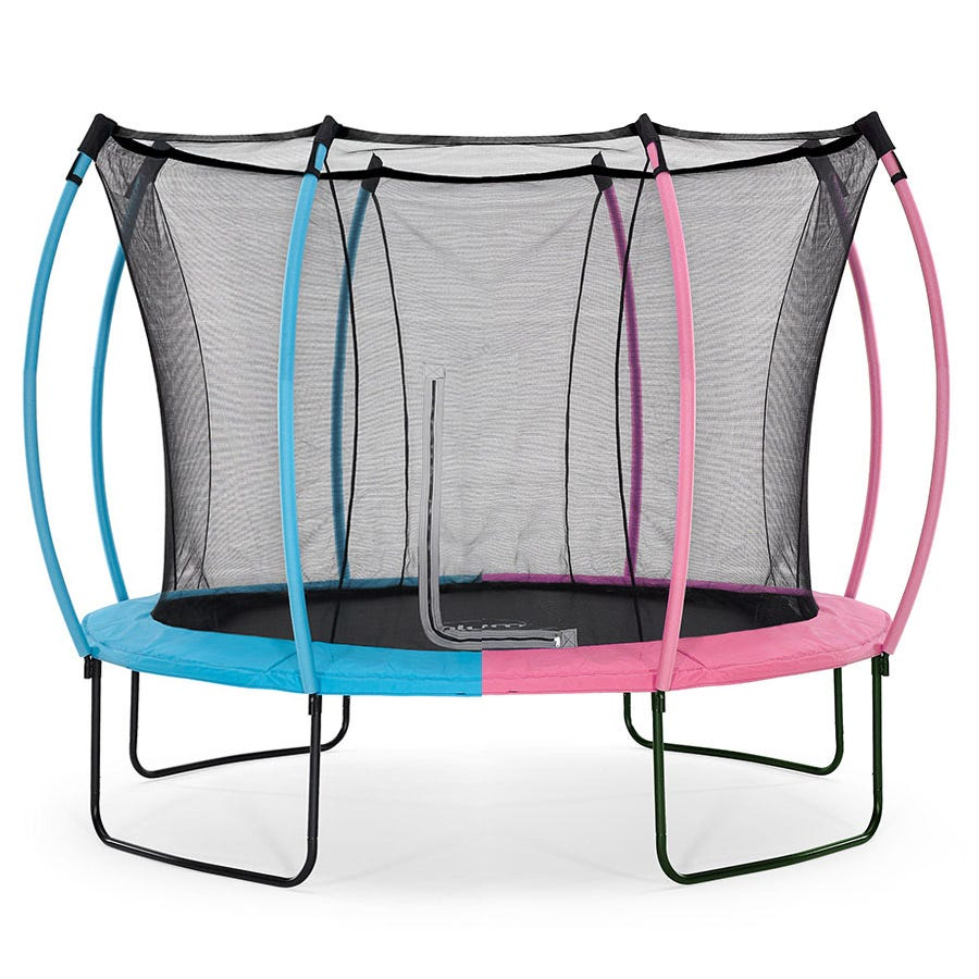 Plum 12ft Springsafe Trampoline and Enclosure - Flamingo Pink or Tropic Turquoise
