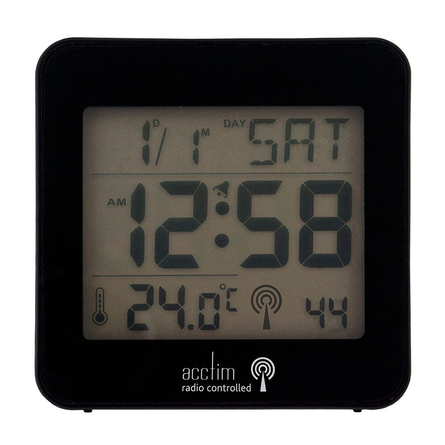 Acctim Kale RC LCD Alarm Clock - Black