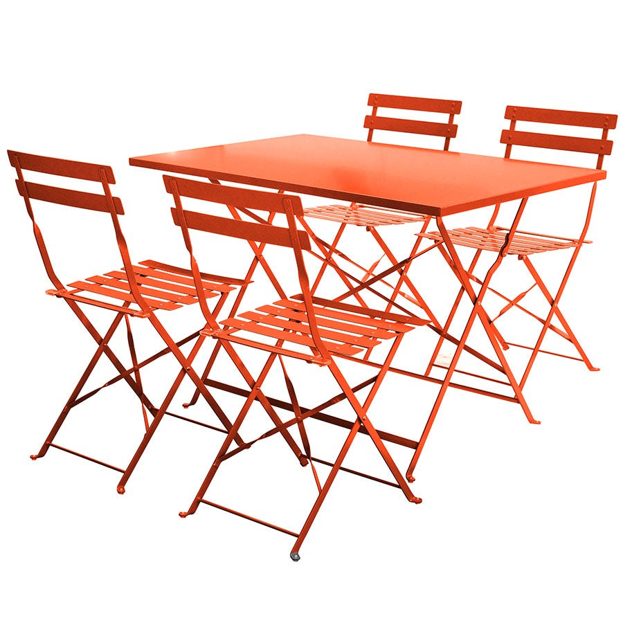 Compare cheap offers & prices of Charles Bentley 5-Piece Rectangular Folding Dining Set - Orange manufactured by Charles Bentley