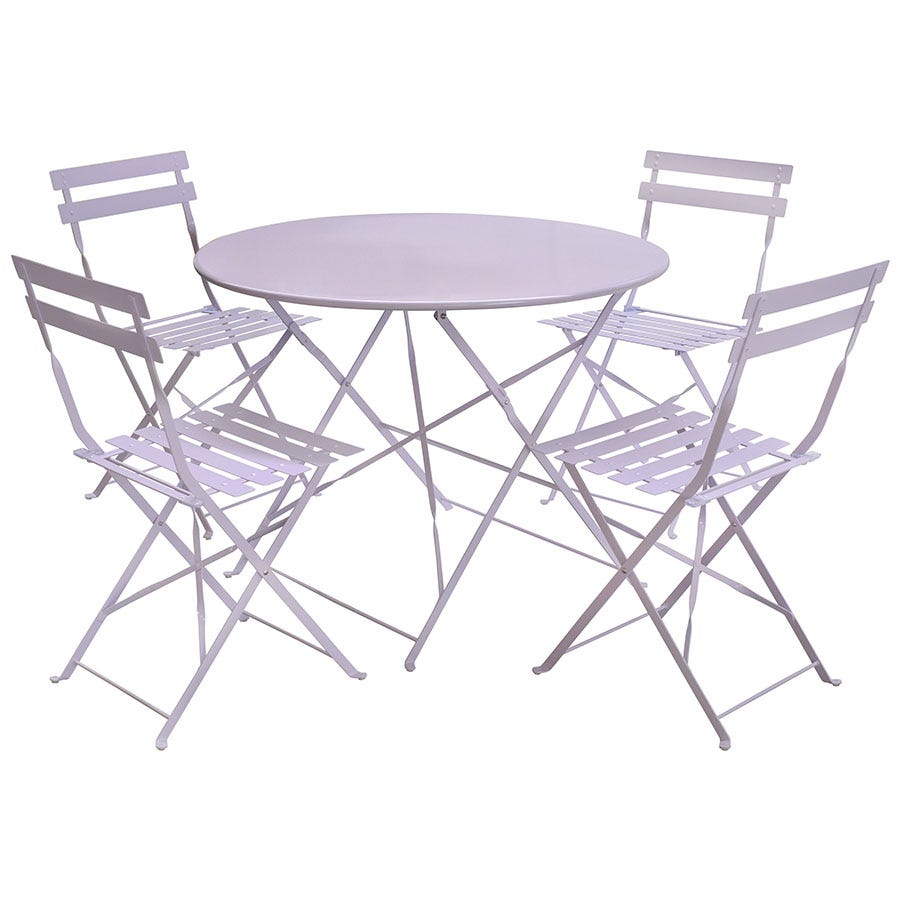 Compare cheap offers & prices of Charles Bentley 5-Piece Round Folding Dining Set - Lilac manufactured by Charles Bentley
