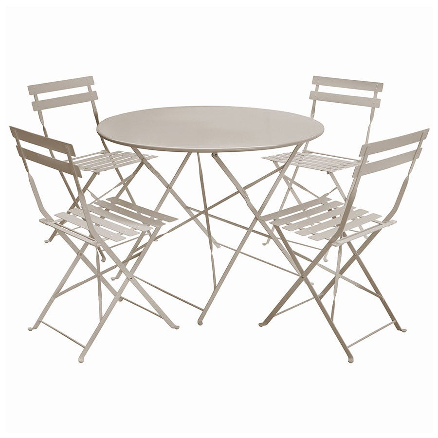 Compare cheap offers & prices of Charles Bentley 5-Piece Round Folding Dining Set - Taupe manufactured by Charles Bentley