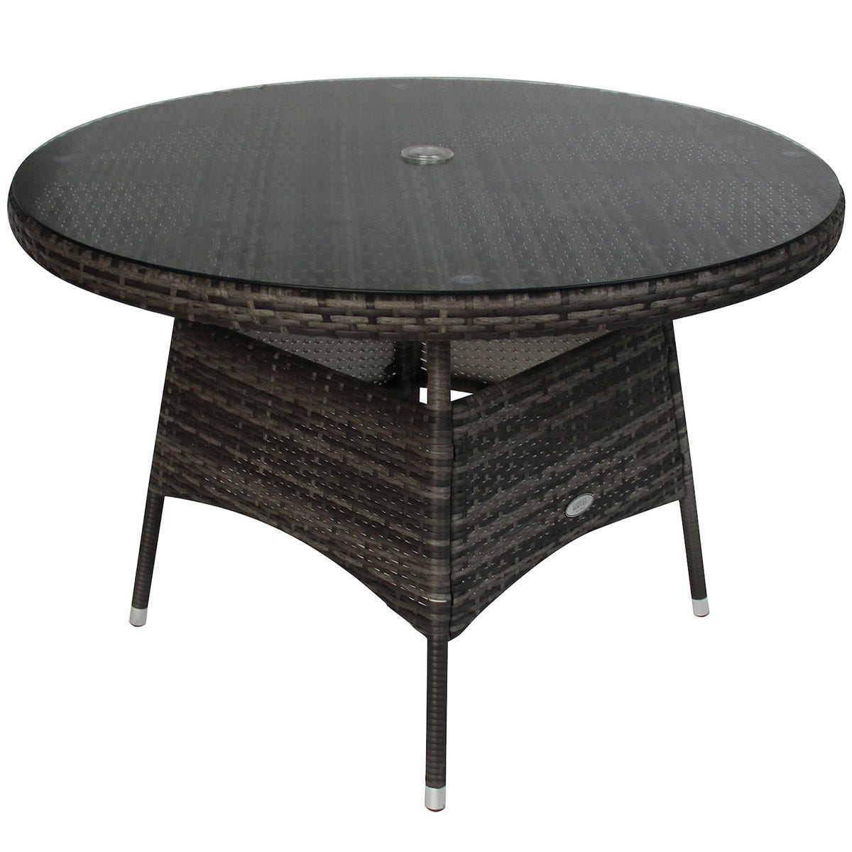 Charles Bentley Rattan 4 Seater Dining Table - Grey