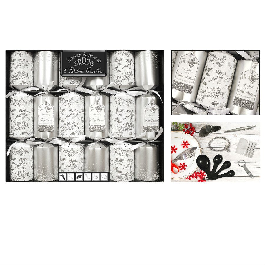 Compare cheap offers & prices of Robert Dyas Deluxe Silver Christmas Crackers - Pack of 6 manufactured by Robert Dyas