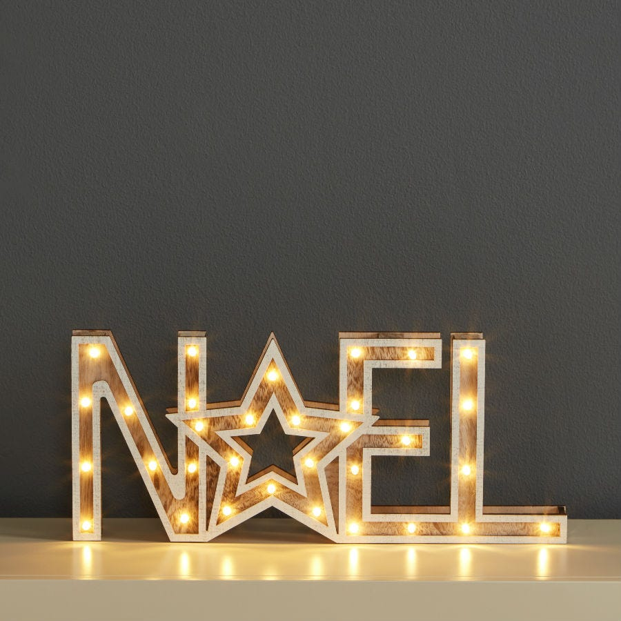 Cheapest price of Robert Dyas Wooden Noel Sign with White LED Lights in new is £4.93