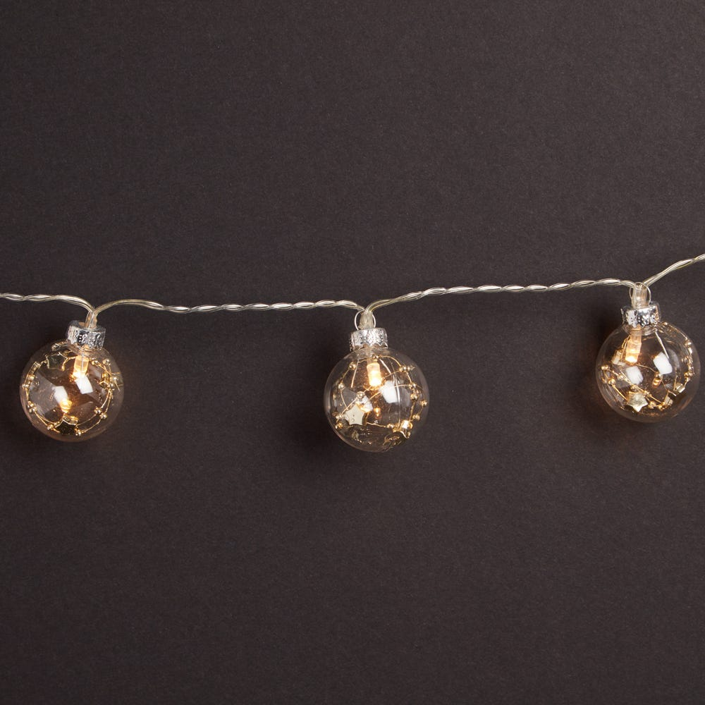 Image of Robert Dyas 10 Battery Operated LED Glass Ball Lights - Warm White