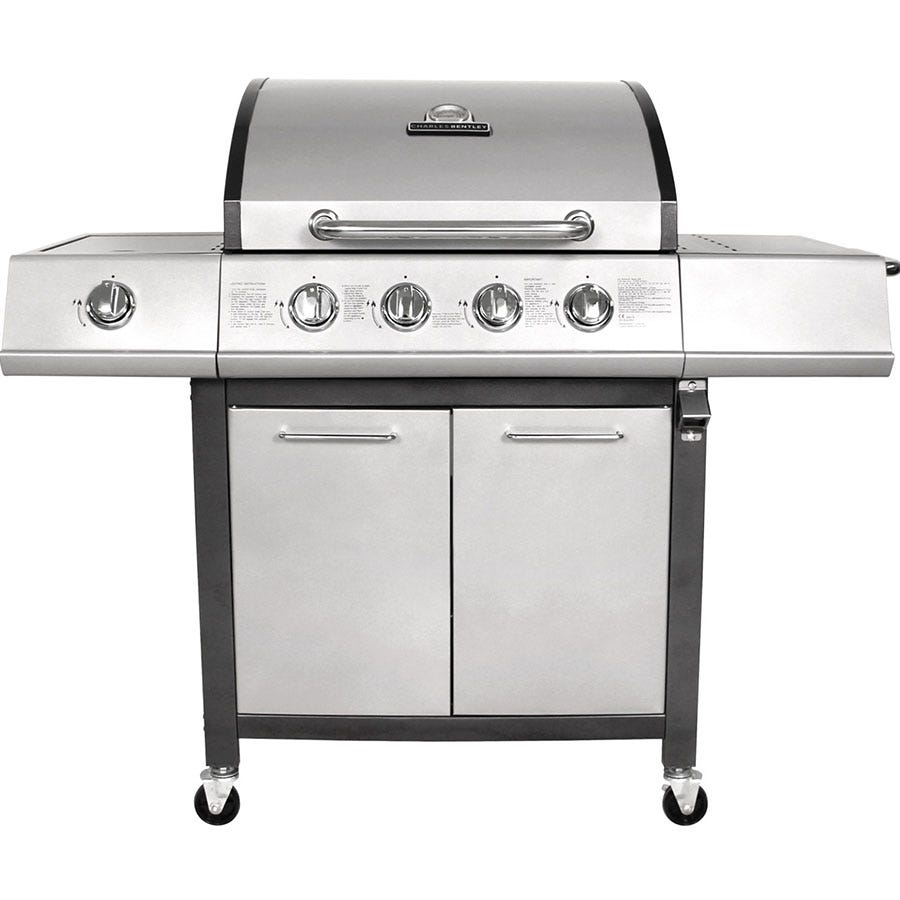 Image of Charles Bentley 5-Burner Premium Gas BBQ - Grey