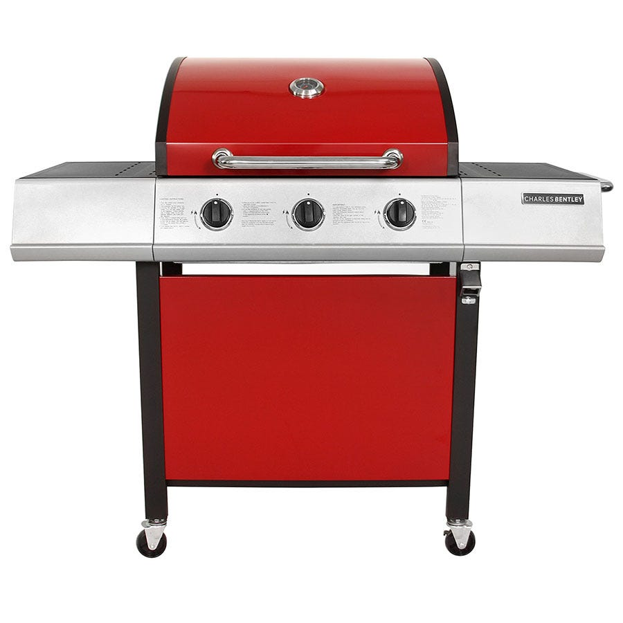 Image of Charles Bentley Stainless Steel 3-Burner Gas BBQ - Red