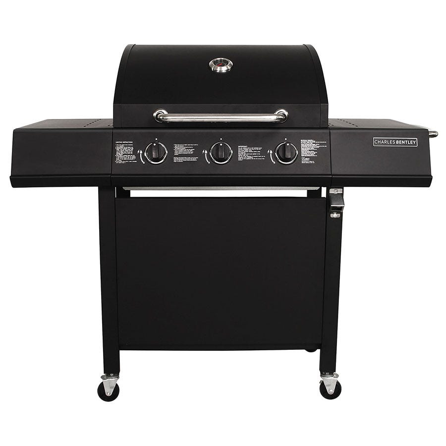 Image of Charles Bentley Stainless Steel 3-Burner Gas BBQ - Black