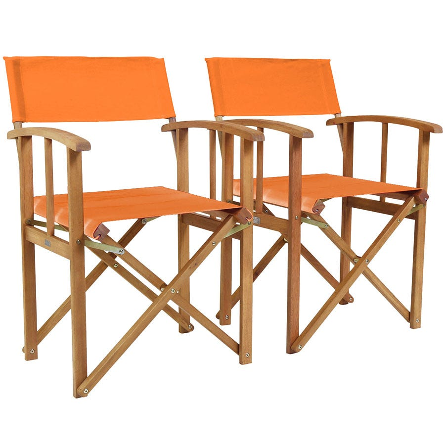 Cheapest price of Charles Bentley Pair of Hardwood Directors Chairs - Orange in new is £79.99