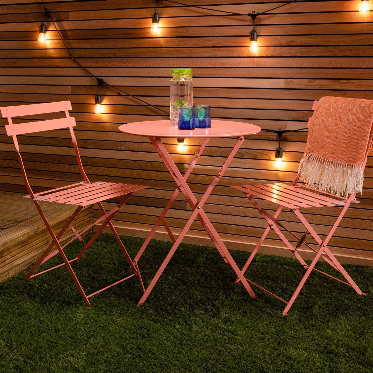 Charles Bentley Folding Metal Bistro Set - Coral Orange