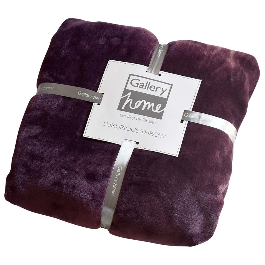 Compare prices for Gallery Flannel Fleece 130 x 170cm Throw - Plum