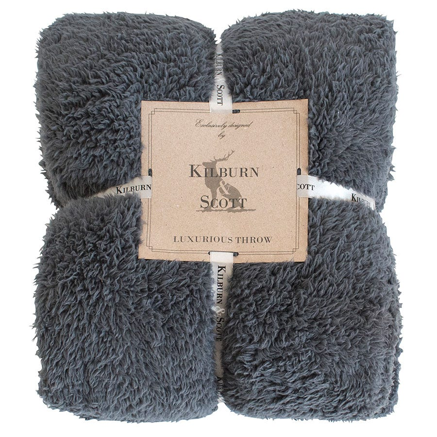 Compare prices for Gallery Teddy Fleece Throw - Charcoal