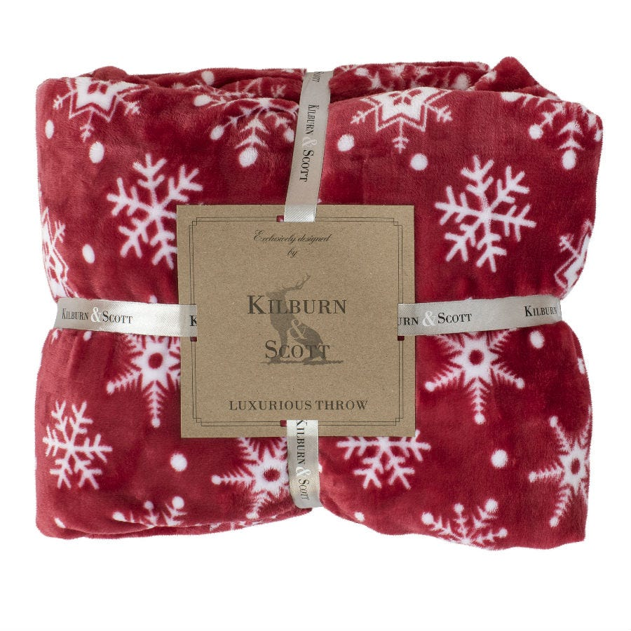 Gallery Snowflake Flannel Throw - Red