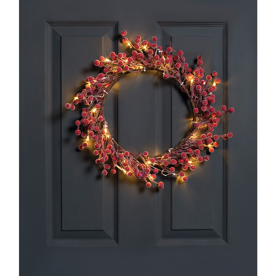Compare cheap offers & prices of Robert Dyas Pre-Lit Red Frosted Berry Wreath manufactured by Robert Dyas