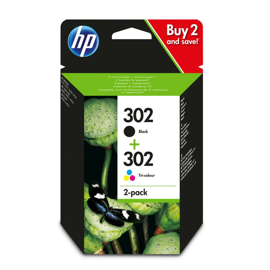 HP Hewlett-Packard 302 Combo Ink Cartridge Pack - Colour and Black