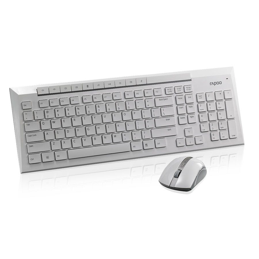 Rapoo 8200P Wireless Keyboard and Mouse Combo - White