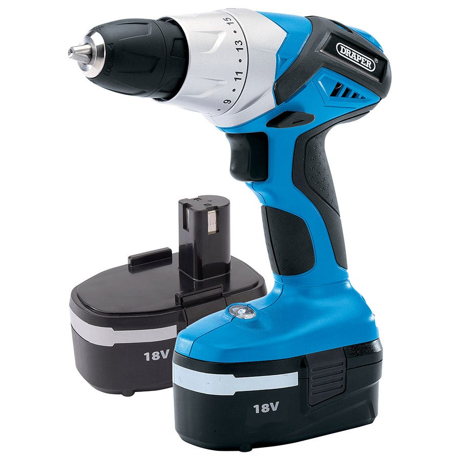 Draper 18V Cordless Rotary Drill with 2 Batteries