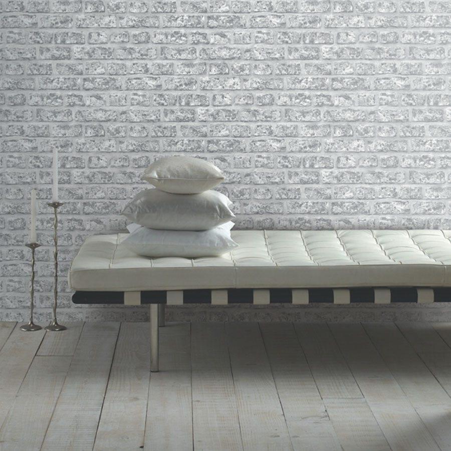 Arthouse Rustic Brick Wallpaper - Grey
