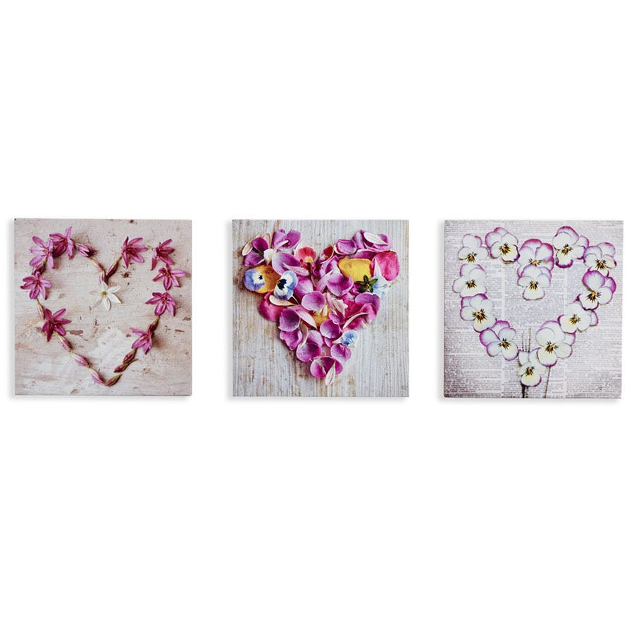 Compare cheap offers & prices of Arthouse Pansy Floral Hearts Wall Canvas - Set of 3 manufactured by Arthouse