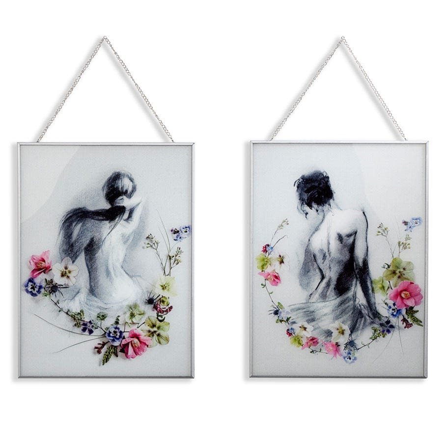 Compare cheap offers & prices of Arthouse Adrianna and Sophia Glass Wall Print - Set of 2 manufactured by Arthouse