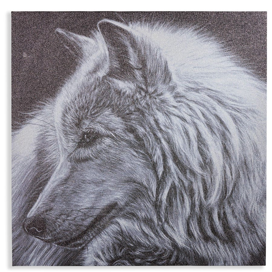 Cheapest price of Arthouse Glitter Wolf Canvas in used is £27.99
