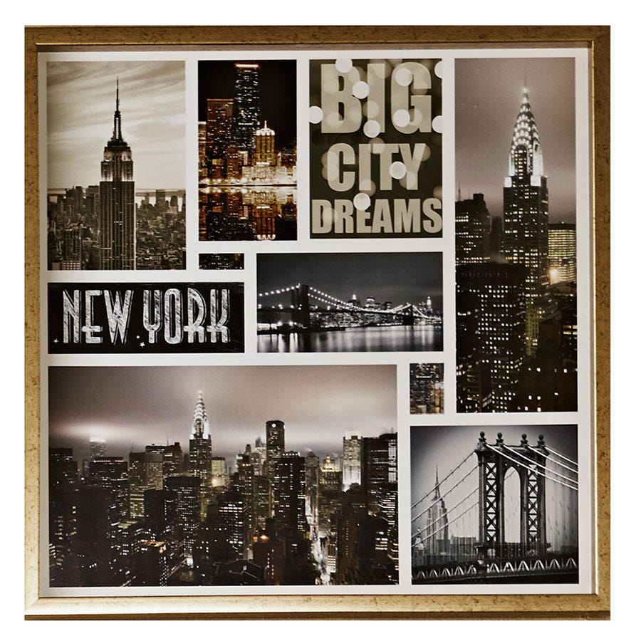 Compare cheap offers & prices of Arthouse Big City Dream New York Montage Framed Print manufactured by Arthouse