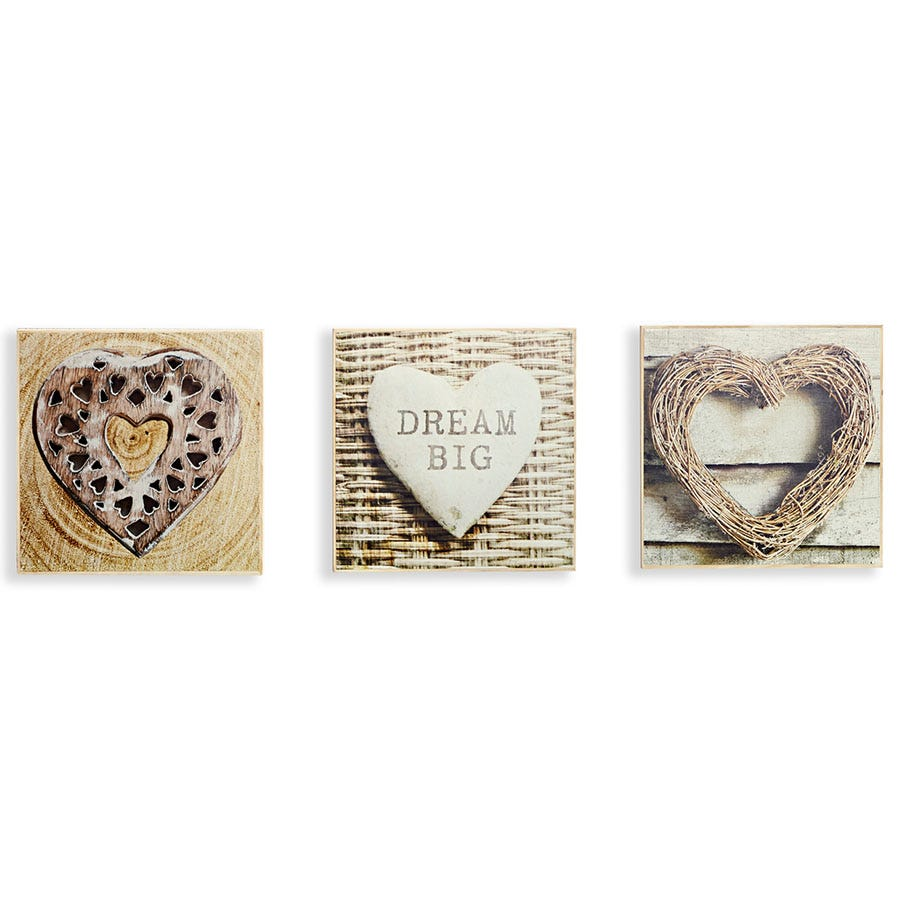 Compare cheap offers & prices of Arthouse Rustic Hearts Box Print - Set of 3 manufactured by Arthouse