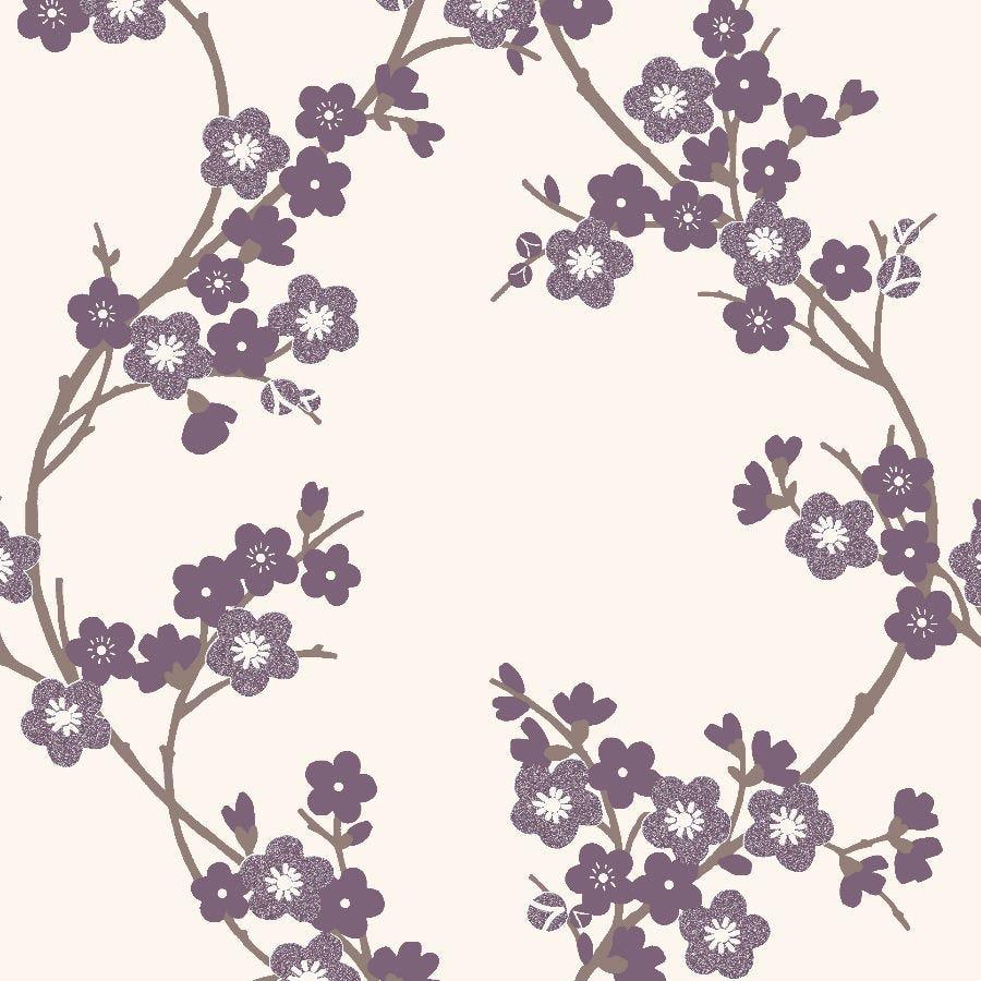Graham & Brown Super Fresco Cherry Blossom Wallpaper - Plum