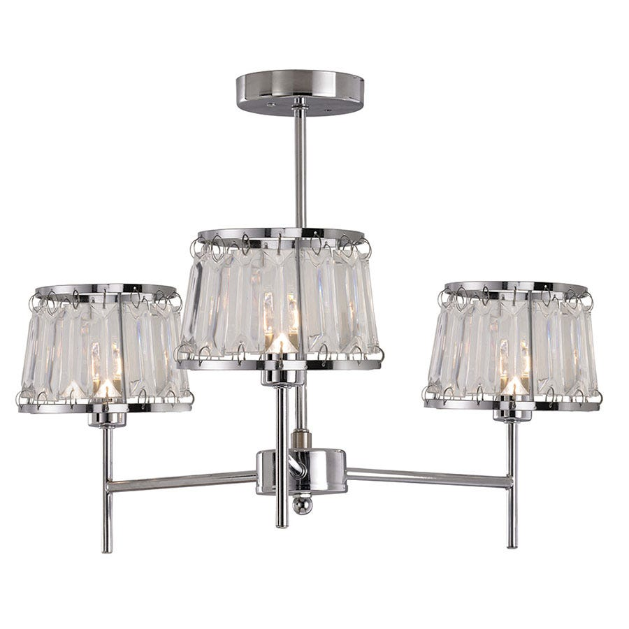 Compare prices for The Lighting and Interiors Group 3-Arm Gatsby Art Deco Ceiling Light - Chrome