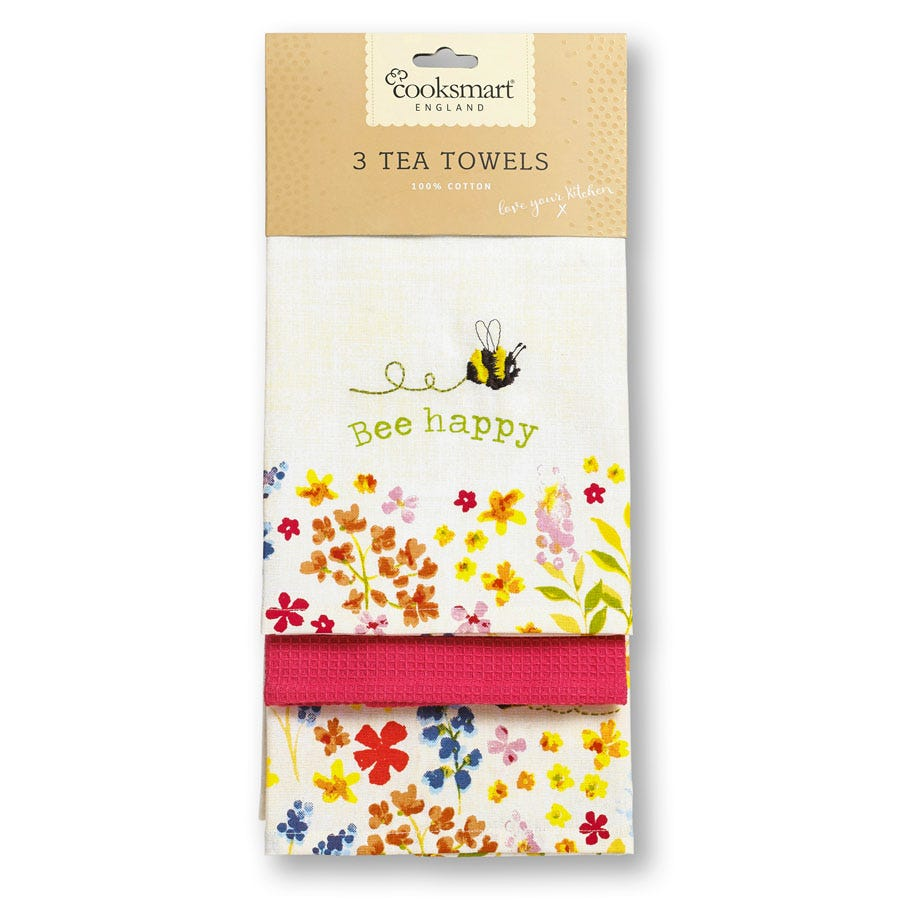 Compare prices for Cooksmart Bee Happy Tea Towels - 3 Pack