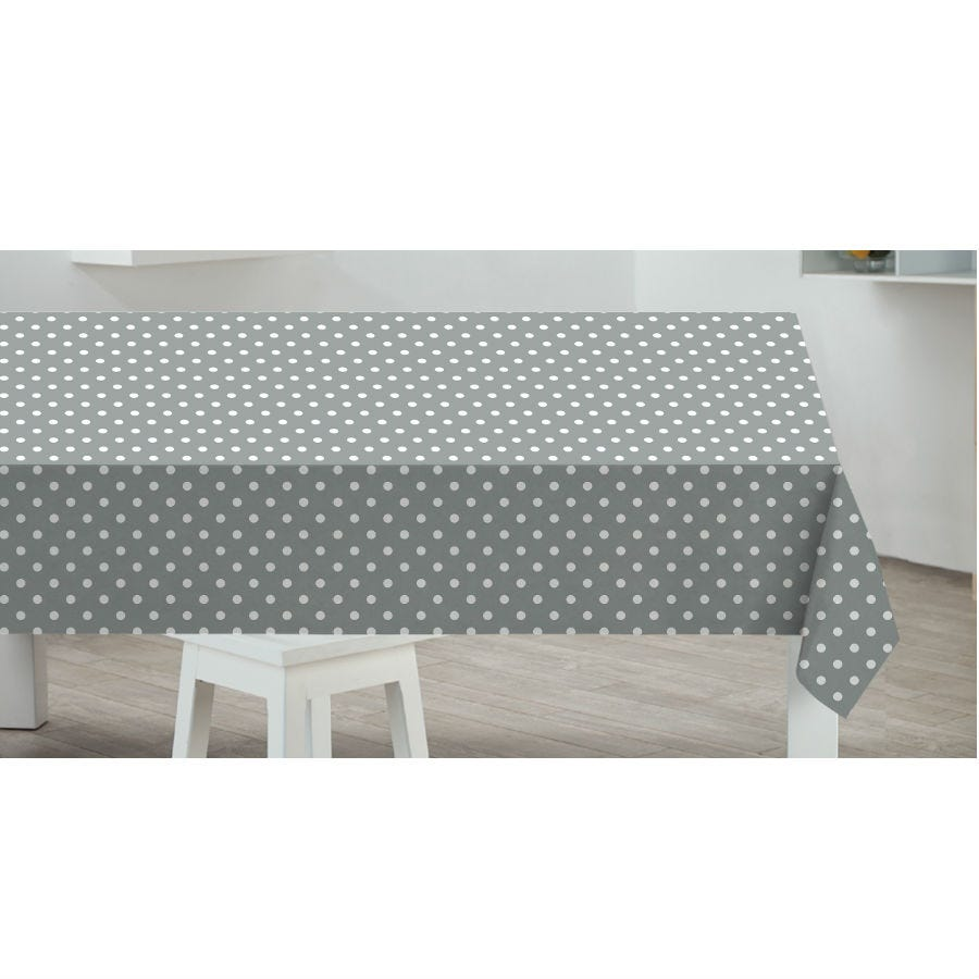 Compare prices for Sabachi Sabichi Grey Spot PVC Tablecloth