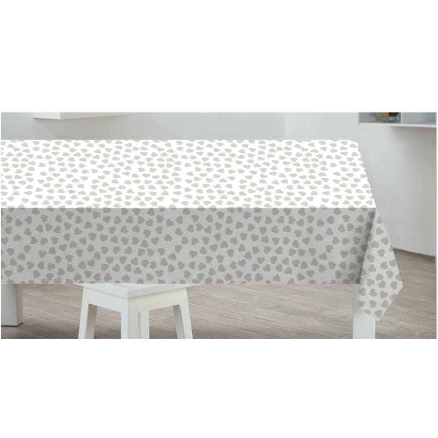 Compare prices for Sabachi Sabichi Grey Hearts PVC Tablecloth