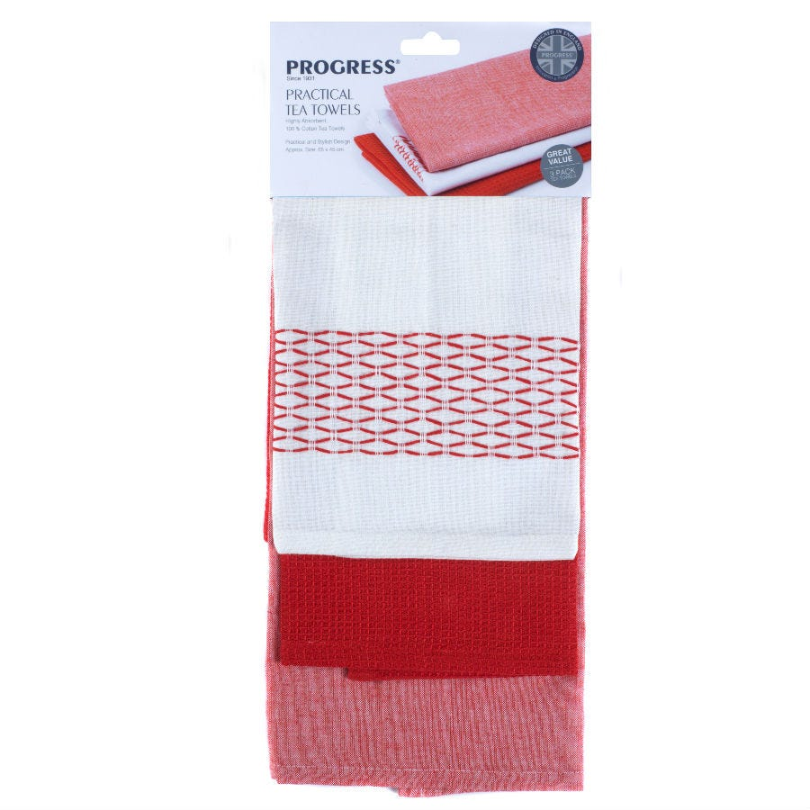Progress Red Cotton Tea Towels - Pack of 3