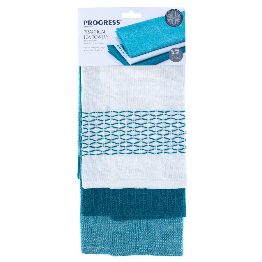 Progress Teal Cotton Tea Towels - Pack of 3