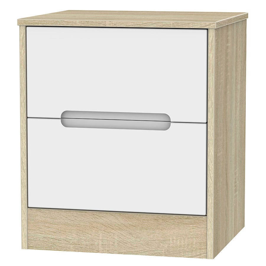 Image of Robert Dyas Barquero Ready Assembled 2-Drawer Bedside Table - Pine/White Gloss