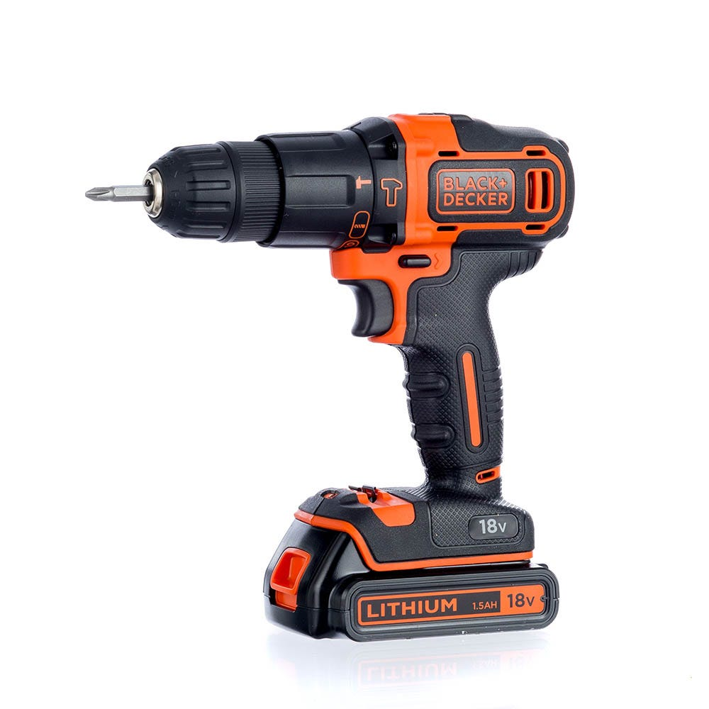 Black & Decker 18V Cordless Combi Drill with 2 Batteries and 32-Piece Accessory Kit