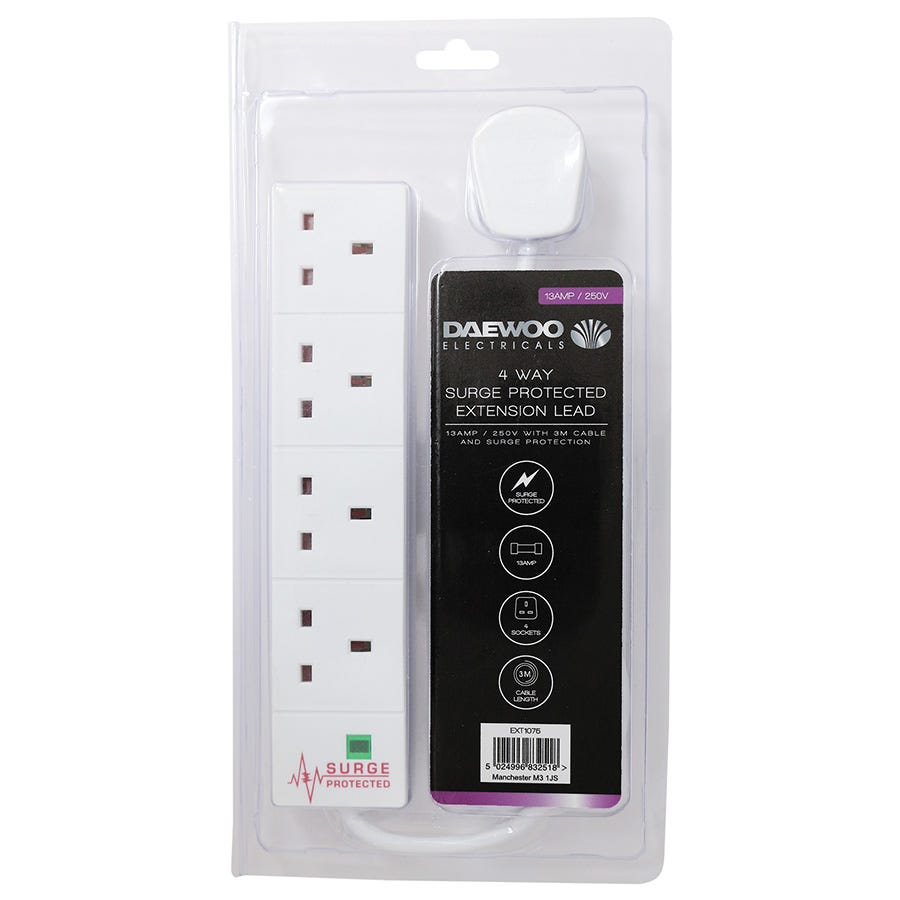 Daewoo 4-Way 3m Extension Lead with Surge Protection - White