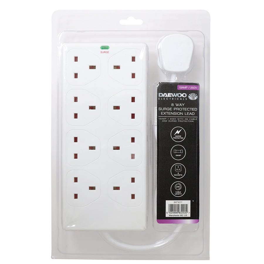 Daewoo 8-Way 2m Extension Lead with Surge Protection - White