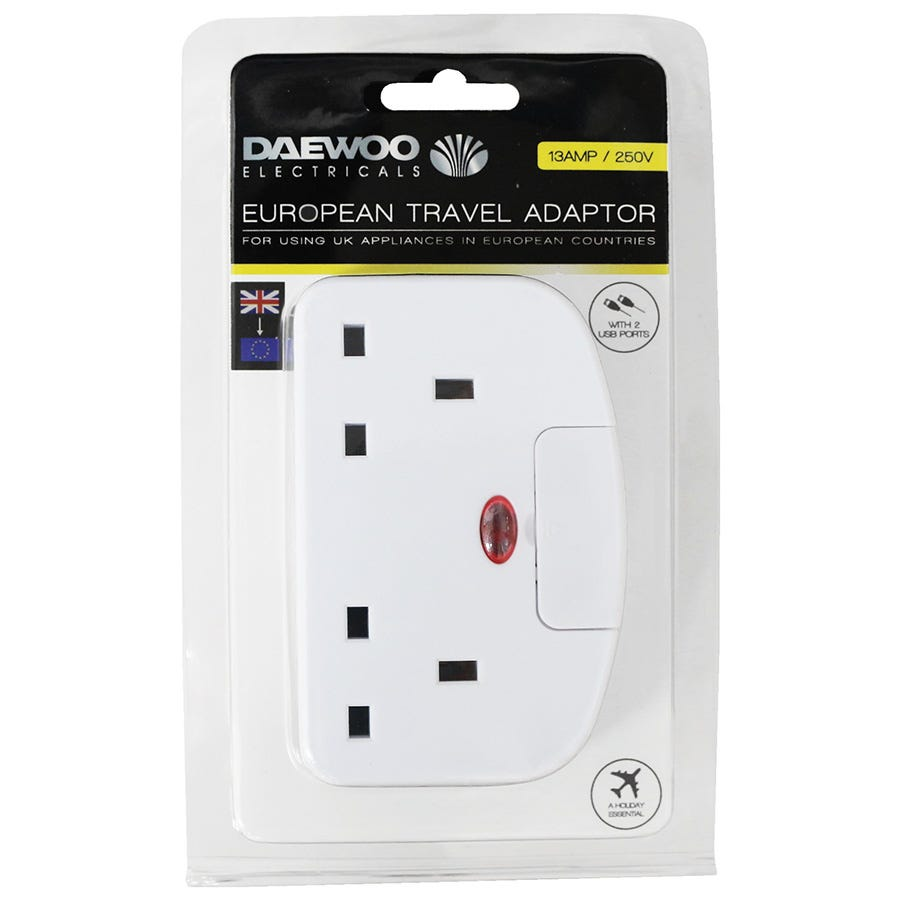 Compare retail prices of Daewoo UK to EU Travel Adaptor with 2 USB Ports to get the best deal online