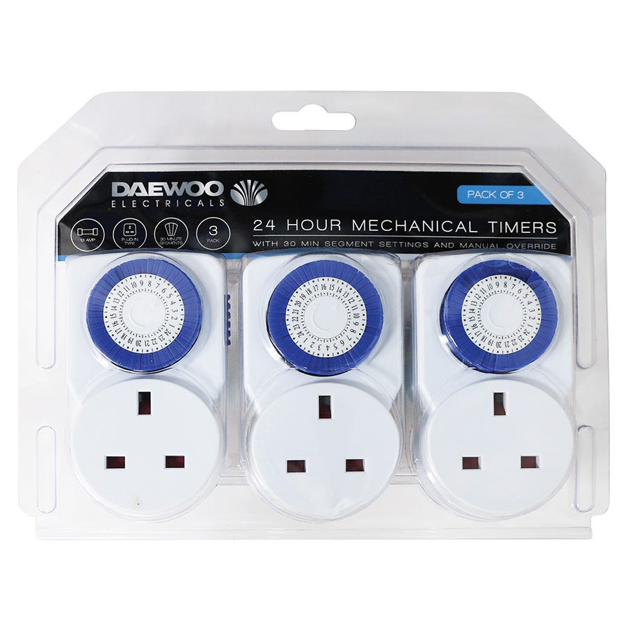 Compare cheap offers & prices of Daewoo 24-Hour 13 Amp Mechanical Timers - 3 Pack manufactured by Daewoo