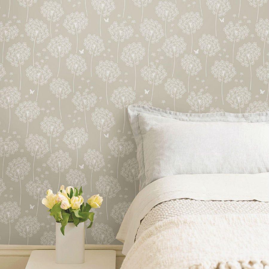 Compare prices for Fine Decor Fine Decor Dandelion Taupe Peel and Stick Wallpaper - 18ft