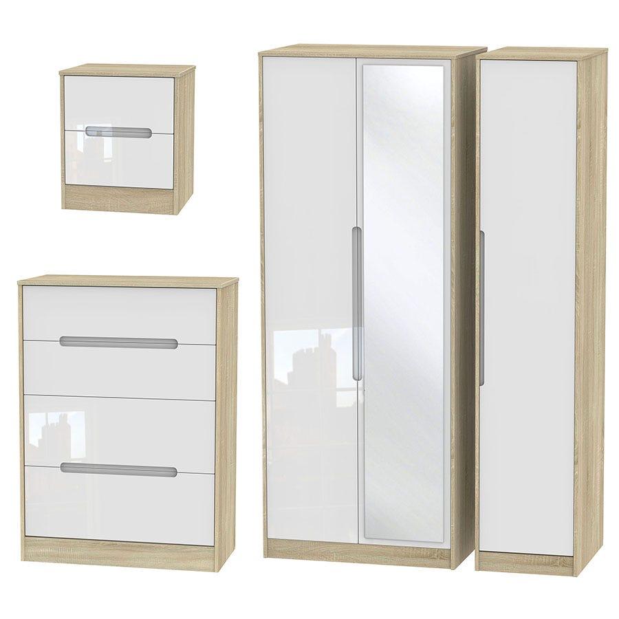 Image of Robert Dyas Barquero 3-Piece Bedroom Set - Pine/White Gloss